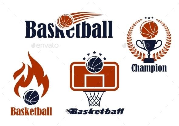 Basketball Sport Team Emblems and Symbols - Sports/Activity Conceptual