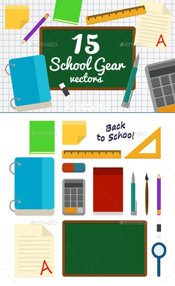 Back to School Vector Set - Objects Vectors