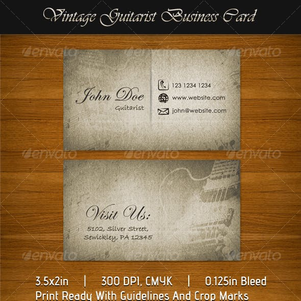 Vintage Guitarist Business Card
