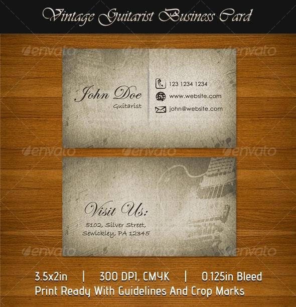 Vintage Guitarist Business Card - Retro/Vintage Business Cards