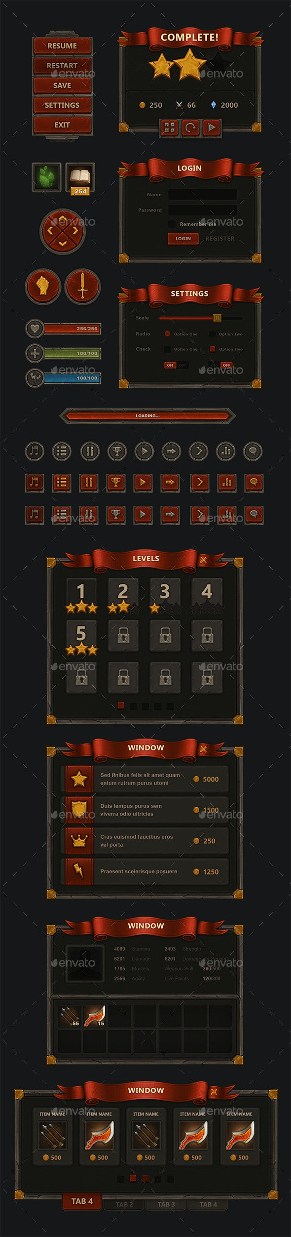 Fantasy Mobile Game Interface - User Interfaces Game Assets