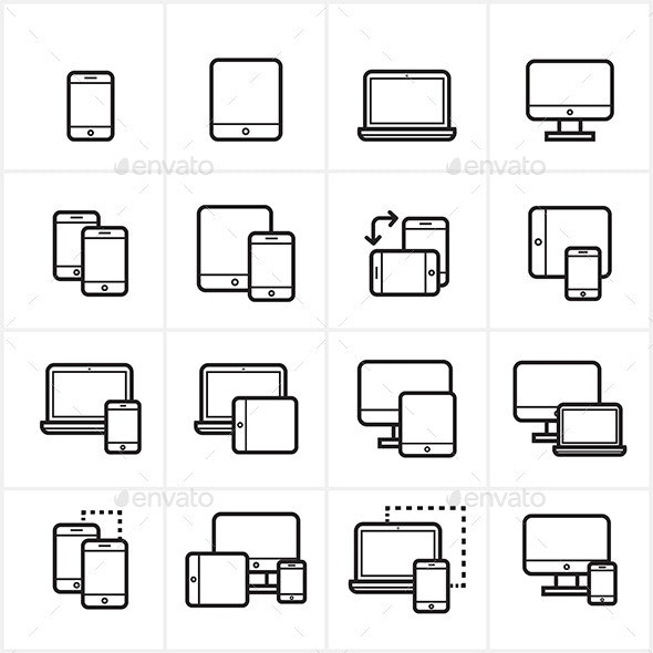 Flat Line Icons Device Icons and Responsive Web - Technology Icons