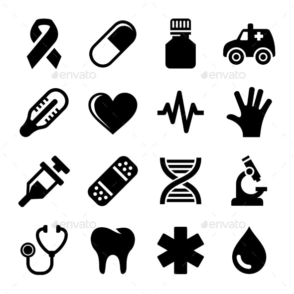 Medical and Health Icons Set. Vector - Icons
