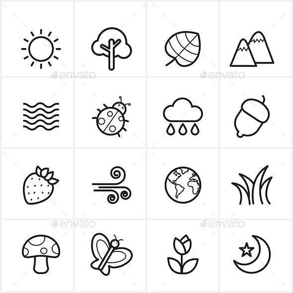 Flat Line Icons Nature and Tree Icons Vector - Seasonal Icons