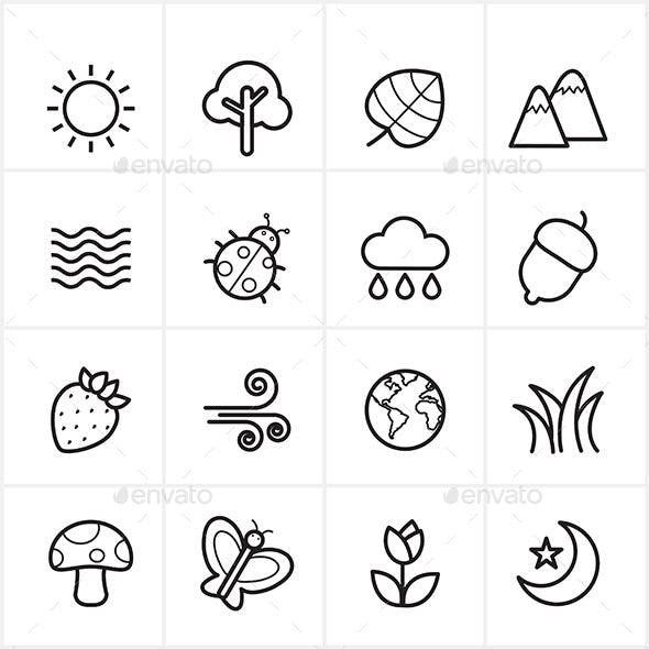 Flat Line Icons Nature and Tree Icons Vector