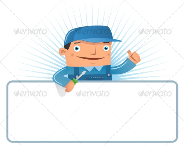 Engineer with blank board - Characters Illustrations