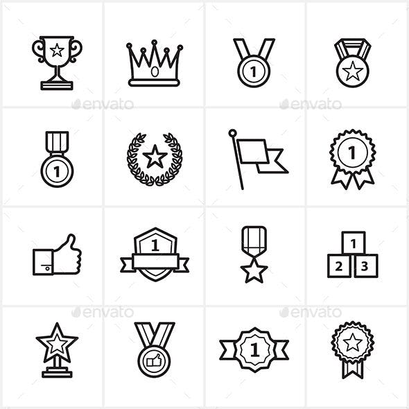 Flat Line Icons Trophy and Prize Icons Vector
