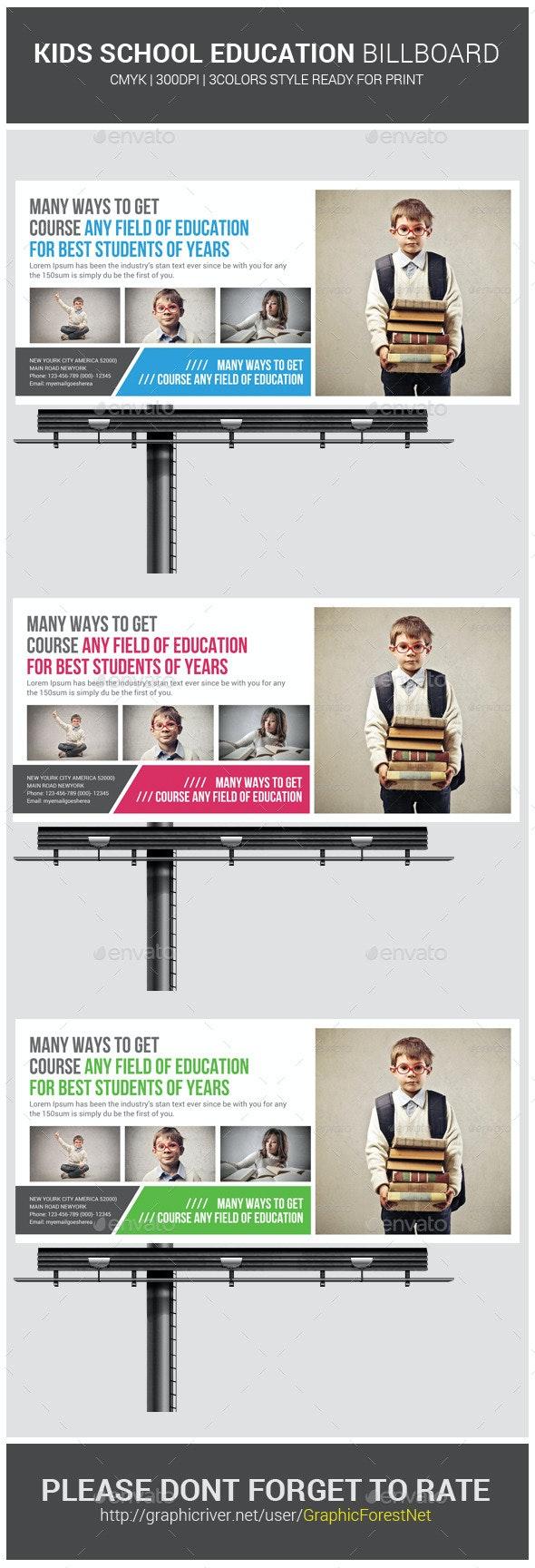Kids School Education Billboard Template - Signage Print Templates
