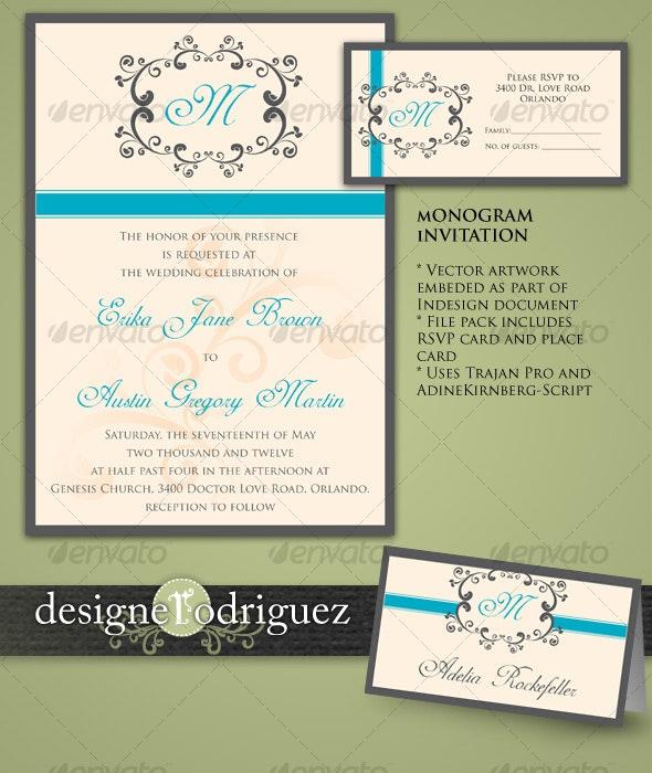 Monogram Invitations in Teal - Weddings Cards & Invites