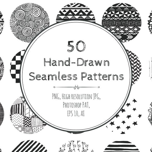 50 Hand-Drawn Seamless Patterns