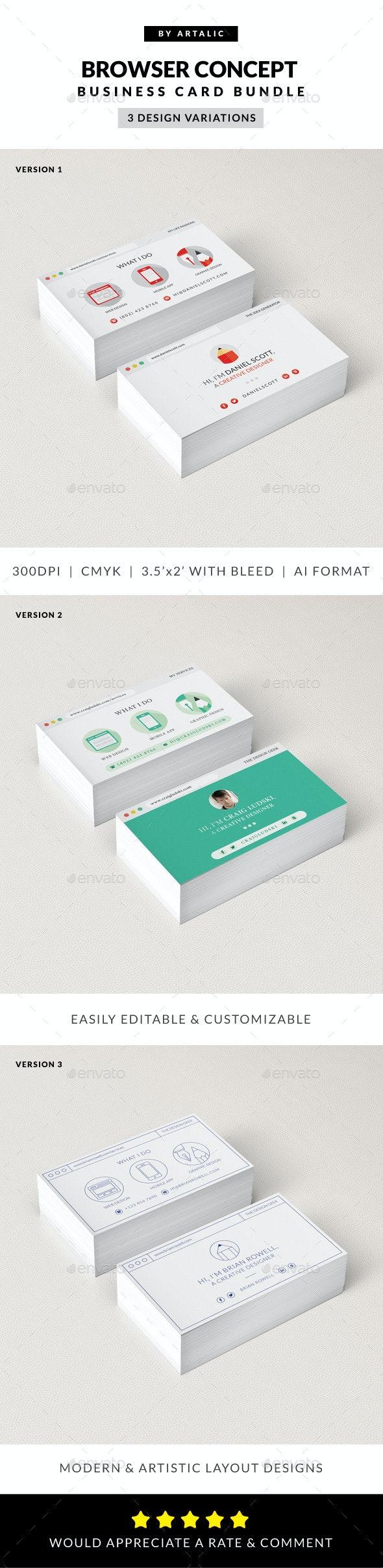 Web Browser Business Card 3-in-1 Bundle - Creative Business Cards