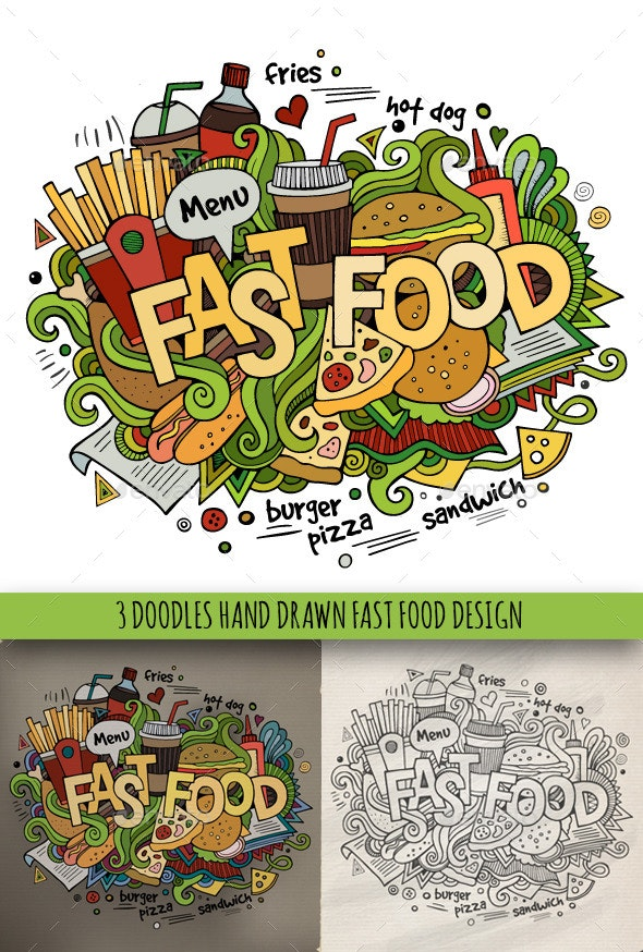 3 Fast Food Doodles Designs - Food Objects