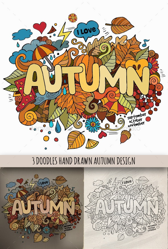3 Autumn Doodles Designs - Seasons Nature