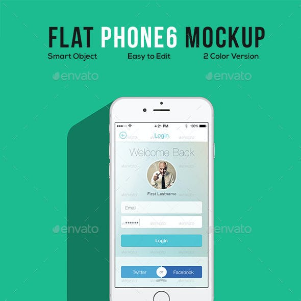 Flat Phone 6 Mockup