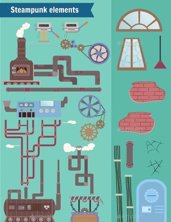 Set Steampunk Elements - Technology Conceptual
