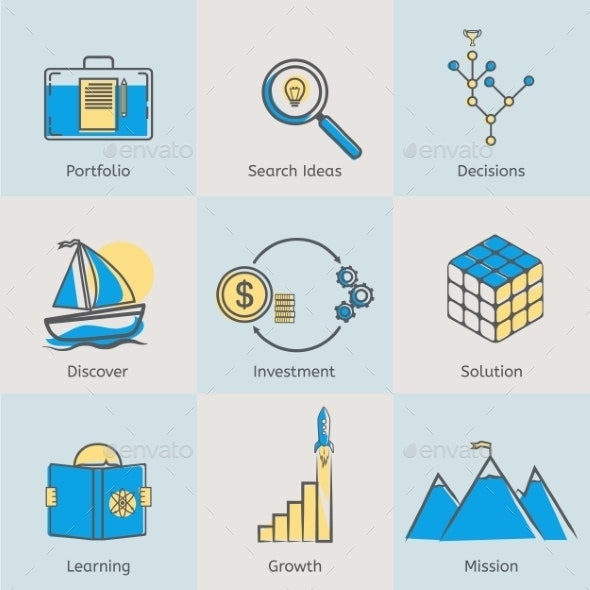 Flat Icons Set of Business Processes  - Business Icons
