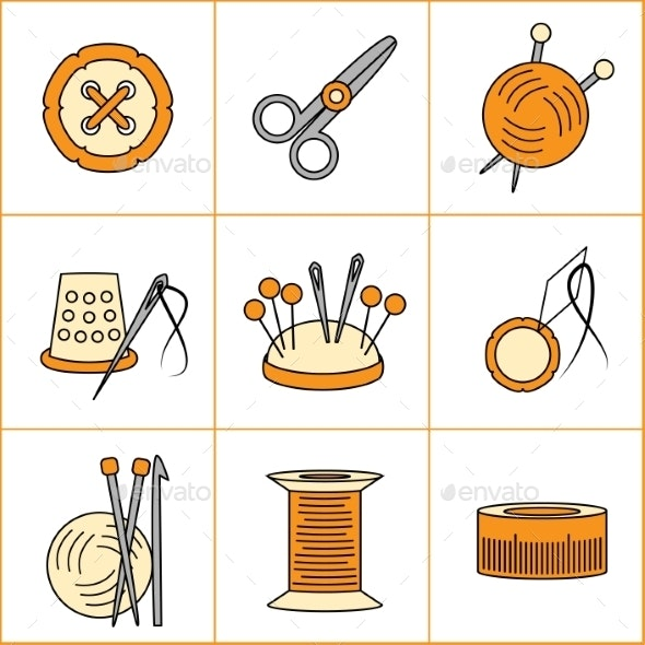 Collection of Needlework, Knitting, Sewing Icons  - Objects Icons
