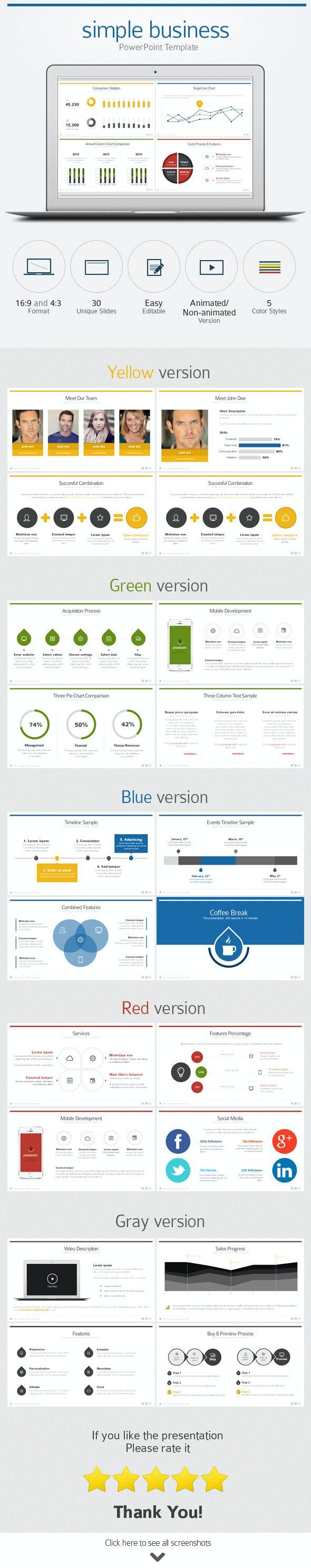 Flat Business PowerPoint Template - Business PowerPoint Templates
