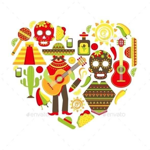 Mexico Decorative Icons Set - Travel Conceptual