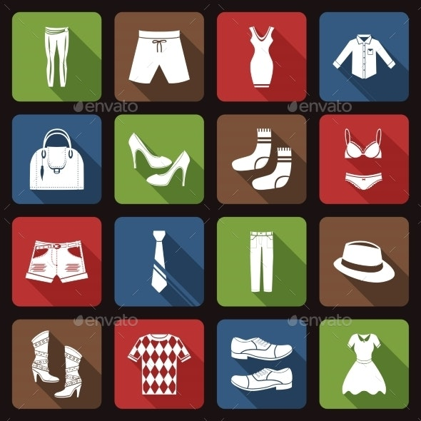 Clothes Icons Set Flat - Retail Commercial / Shopping