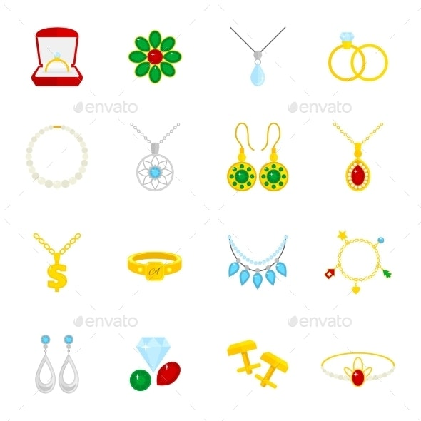 Jewelry Icon Flat - Web Technology