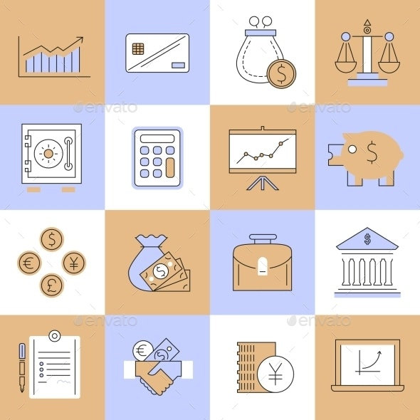 Finance Icons Set Flat Line - Web Elements Vectors
