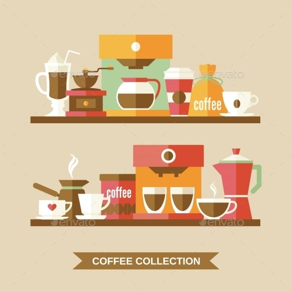 Coffee Elements on Shelves - Food Objects