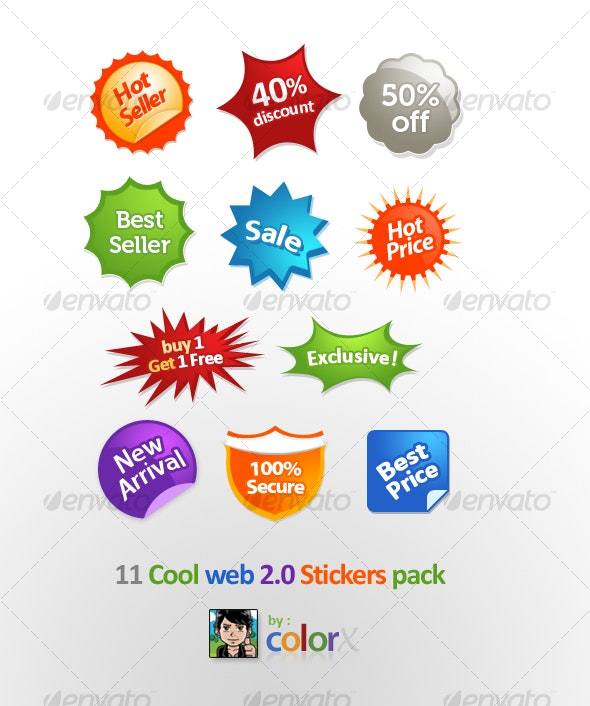 11 Cool Web 2.0 Stickers - Decorative Symbols Decorative