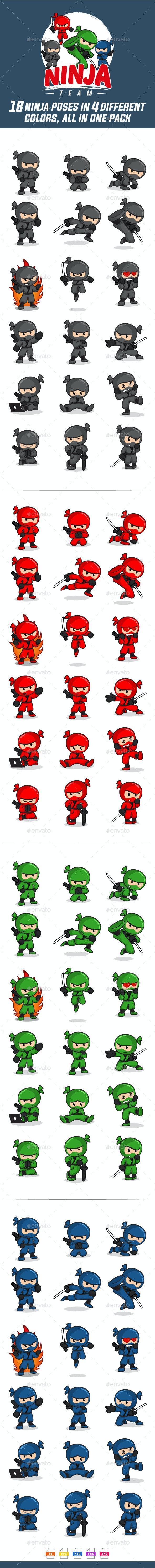 Ninja Team Mascot Pack - People Characters