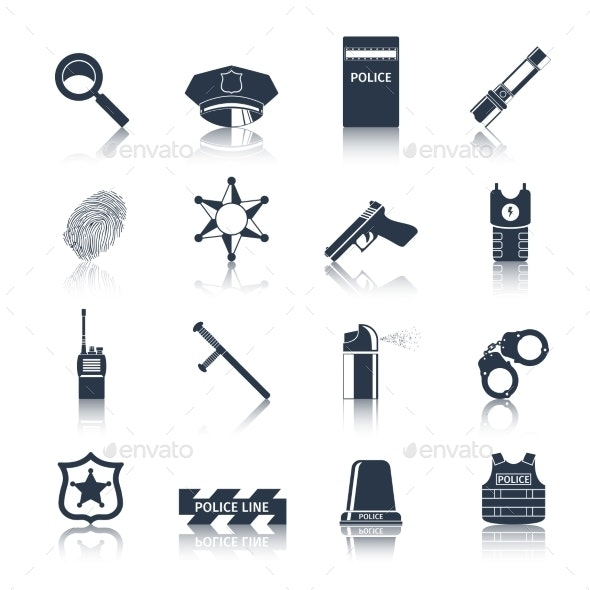 Police Icons Set Black - Web Elements Vectors
