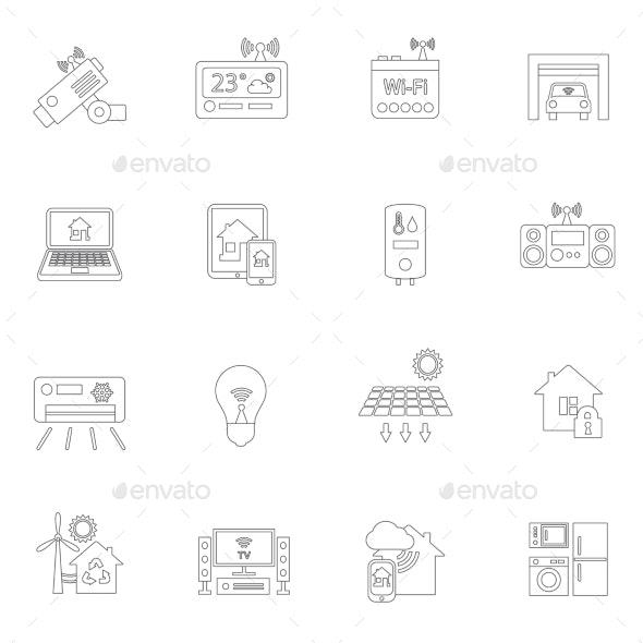 Smart Home Icons Outline - Web Elements Vectors
