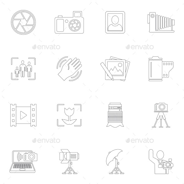 Photography Icons Outline - Web Technology