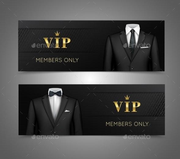 Businessman Suit VIP Cards Horizontal Banners - Concepts Business