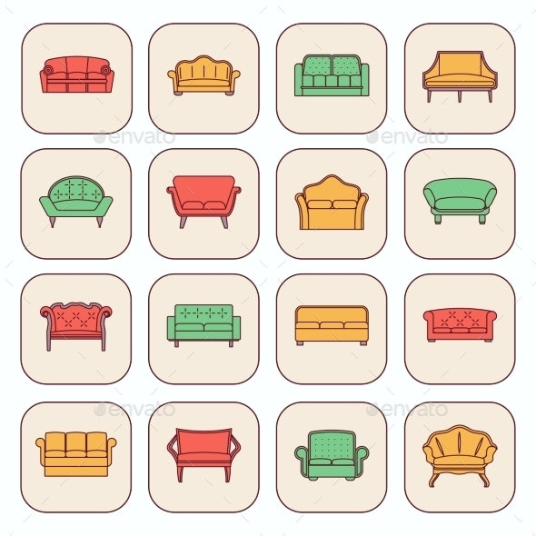 Sofa Icon Set - Web Elements Vectors