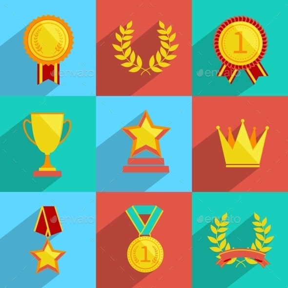 Award Icons Set Colored - Web Technology