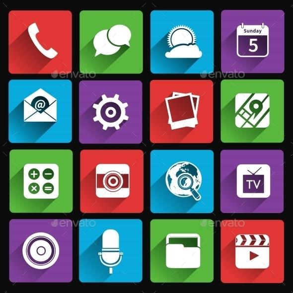 Mobile Applications Icons Flat - Web Elements Vectors