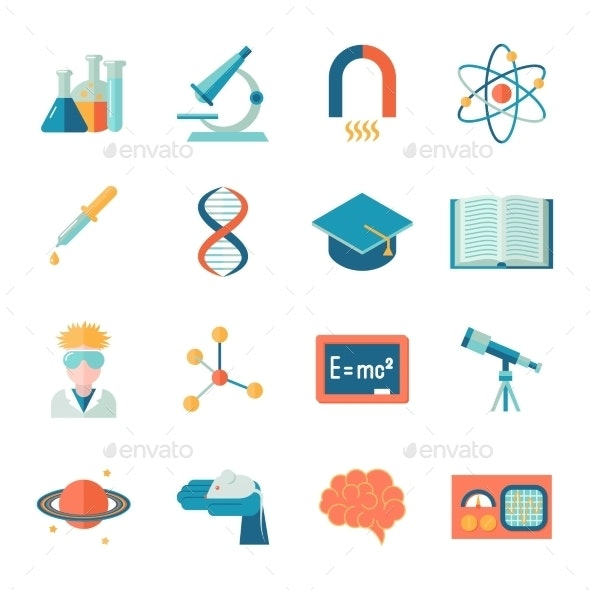 Science and Research Flat Icons - Web Technology