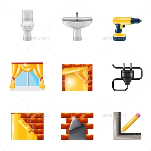 Home Repair Icons Realistic - Man-made Objects Objects