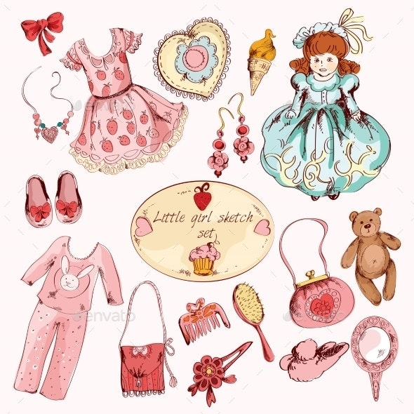 Little Girl Accessories Colored Items Set - Decorative Symbols Decorative