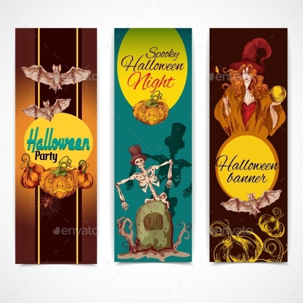 Halloween Colored Banners Vertical - Halloween Seasons/Holidays