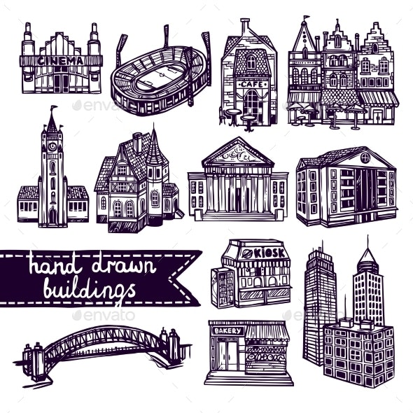 Sketch City Building Set - Buildings Objects
