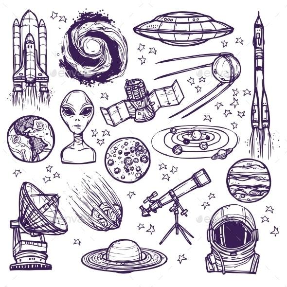 Space Sketch Set - Miscellaneous Vectors