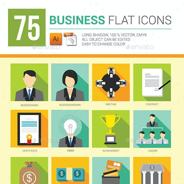75 Business Flat Icons Long Shadow