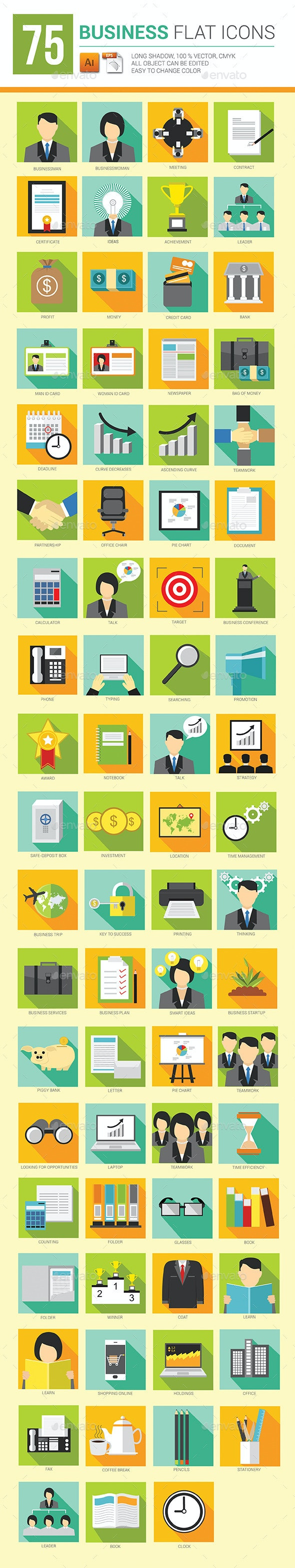 75 Business Flat Icons Long Shadow - Business Icons