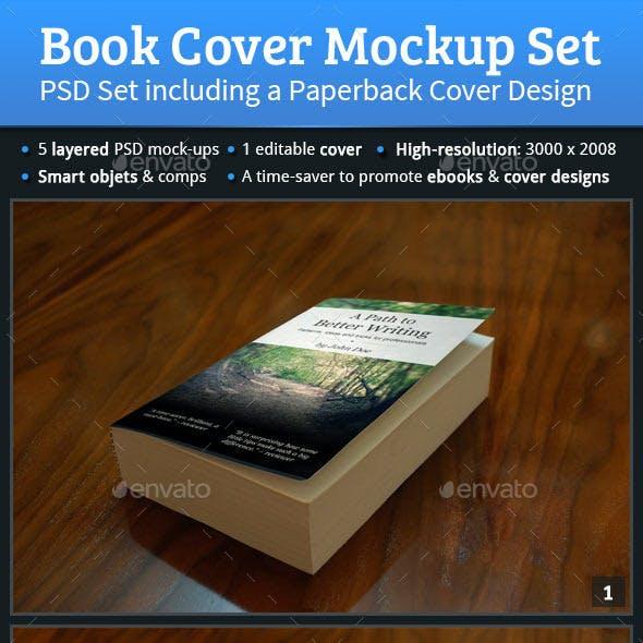 Book Cover Mockup PSD Set / Paperback Cover Design