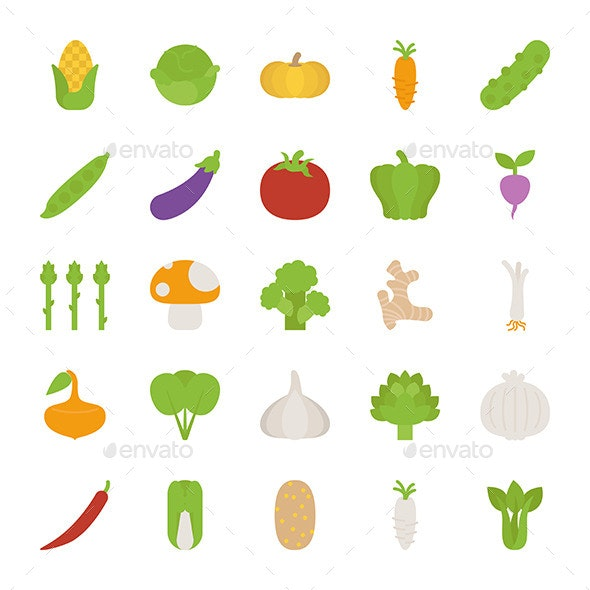 Vegetables Icons - Web Elements Vectors