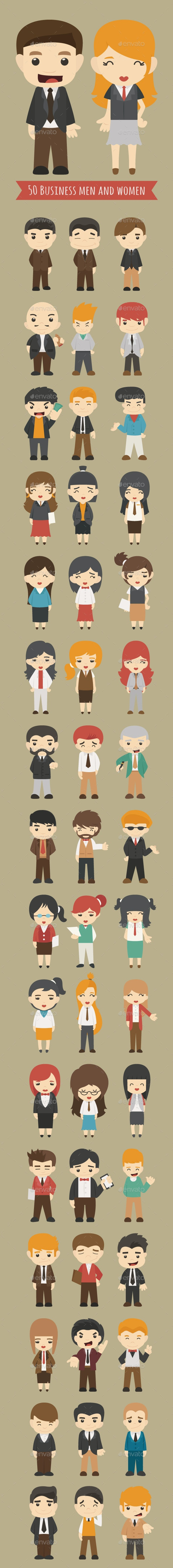 Set of 50 Business Men and Women - Business Conceptual