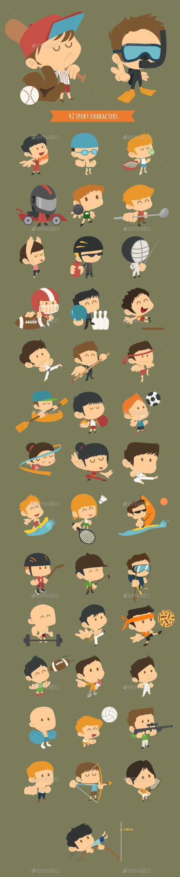 Set of 42 Sport Characters - Business Conceptual