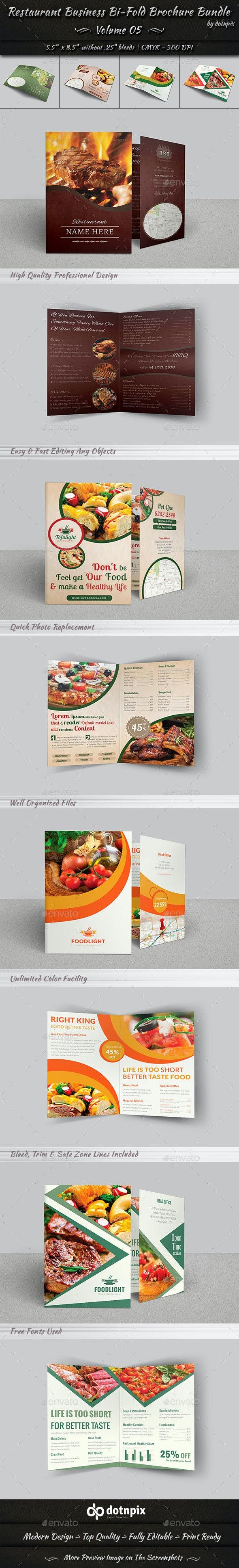 Restaurant Business Bi-Fold Brochure Bundle   v5 - Corporate Brochures