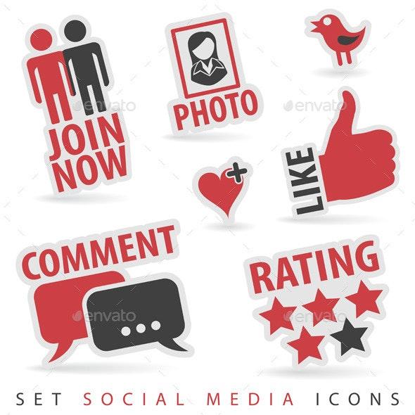 Set Social Media Icons - Web Technology